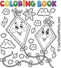 Coloring book happy autumn kites