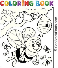 Coloring book happy bee theme 2 - eps10 vector illustration.