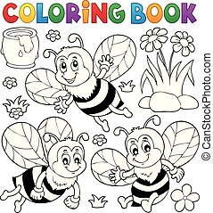 Coloring book happy bees topic 1