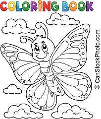 Coloring book happy butterfly topic 1 - eps10 vector...