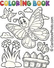 Coloring book happy butterfly topic 5 - eps10 vector illustration.