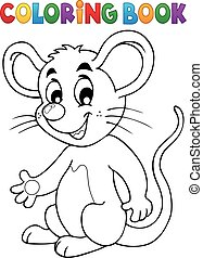 Coloring book happy mouse