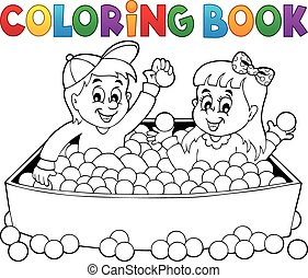 Coloring book happy playing children