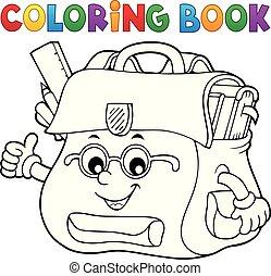 Coloring book happy schoolbag topic 2 - eps10 vector...