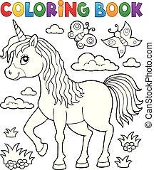 Coloring book happy unicorn topic 1