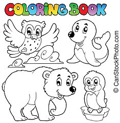 Coloring book happy winter animals - vector illustration.