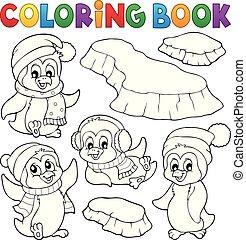 Coloring book happy winter penguins