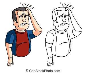 Coloring book headaches man cartoon character - vector illustration .EPS10