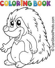 Coloring book hedgehog theme 2 - eps10 vector illustration.
