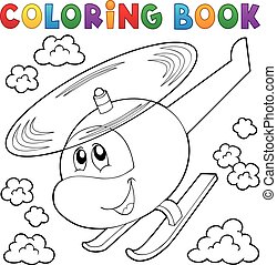Coloring book helicopter theme
