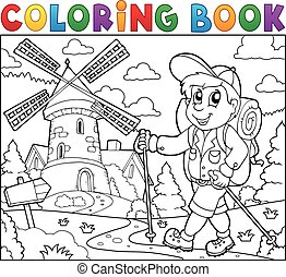 Coloring book hiker near windmill
