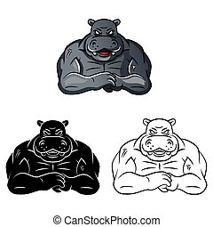 Coloring book Hippo strong caracter