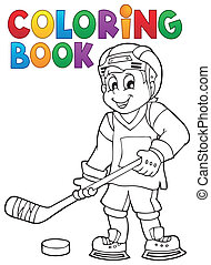 Coloring book hockey theme 1 - eps10 vector illustration.