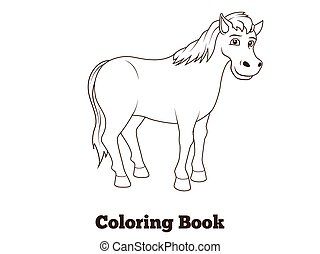 Coloring book horse cartoon illustration
