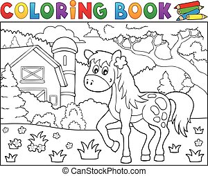 Coloring book horse near farm theme 1