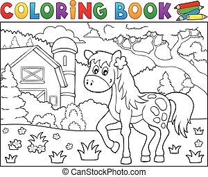 Coloring book horse near farm theme 1 - eps10 vector...