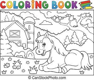 Coloring book horse near farm theme 2 - eps10 vector...