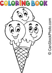 Coloring book ice cream 1 - eps10 vector illustration.