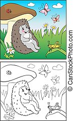 Coloring Book. Illustration of hedgehog and Insect for Children.
