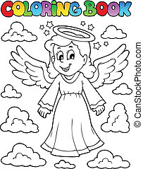Coloring book image with angel 1 - vector illustration.