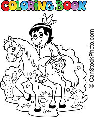 Coloring book Indian theme image 1 - vector illustration.