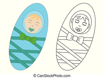 Coloring book. Infant newborn. Leisure activity for preschool children. Vector illustration.