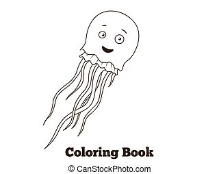 Coloring book jellyfish fish cartoon illustration