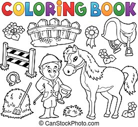 Coloring book jockey and horse thematics