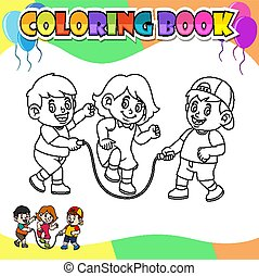 Coloring book kids playing rope