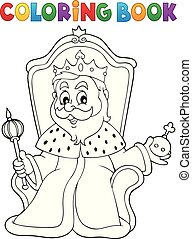 Coloring book king on throne theme 1 - eps10 vector...