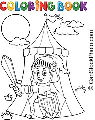 Coloring book knight by tent theme 1 - eps10 vector...