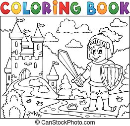 Coloring book knight near castle