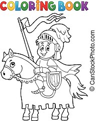 Coloring book knight on horse theme 1 - eps10 vector...