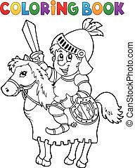 Coloring book knight on horse theme 2 - eps10 vector...