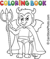 Coloring book little devil - eps10 vector illustration.