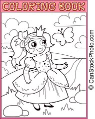 Coloring book. Little princess on the meadow