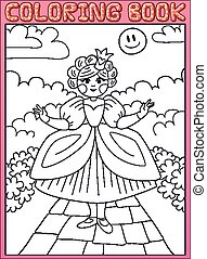 Coloring book. Little princess on the path
