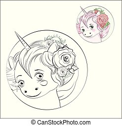 coloring book little unicorn in flower