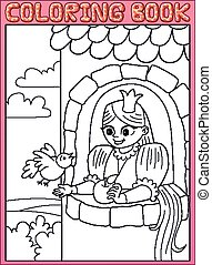 Coloring book. Long hair little princess Rapunzel in a stone tower