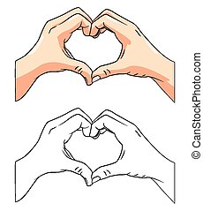 Coloring book Love Hand character