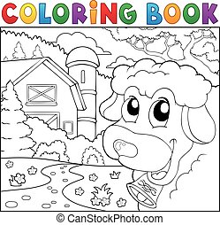 Coloring book lurking sheep near farm