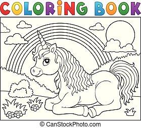 Coloring book lying unicorn theme 2