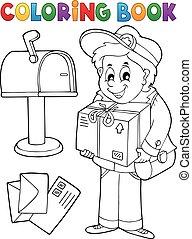 Coloring book mailman delivering box - eps10 vector...