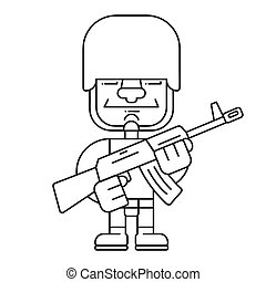 Coloring Book Male Soldier Theme 1 - Eps10 Vector