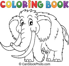 Coloring book mammoth theme 1 - eps10 vector illustration.