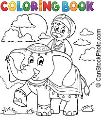 Coloring book man travelling on elephant - eps10 vector...