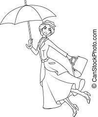 Coloring book: Mary Poppins a novel character flying on umbrella
