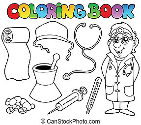 Coloring book medical collection - vector illustration.