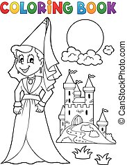 Coloring book medieval lady
