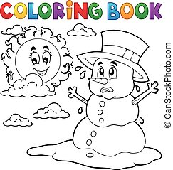 Coloring book melting snowman 1 - eps10 vector illustration.